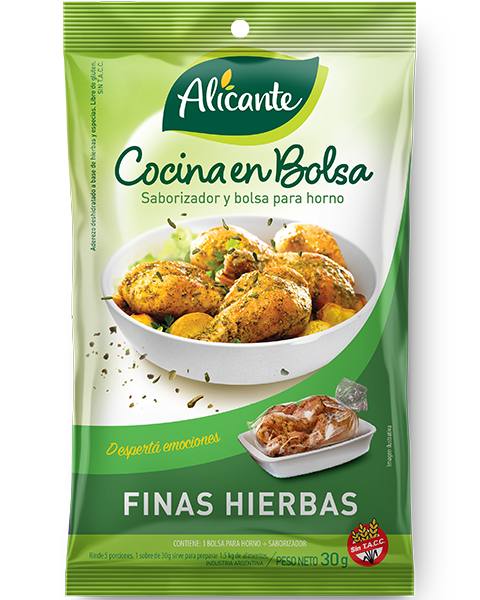 Cocina en bolsa de pollo a las finas hierbas producto de alicante - Pollo asado a las finas hierbas ...