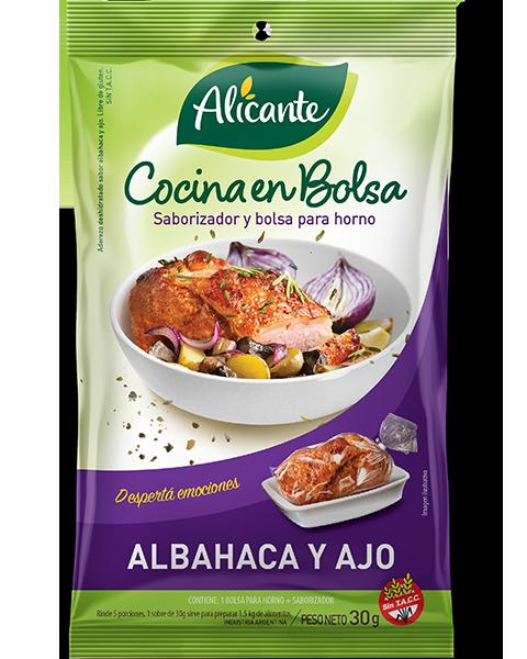 Cocina en bolsa albahaca y ajo producto de alicante for Productos para cocina